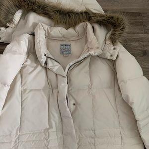 Long white winter coat